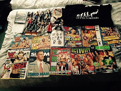 Wwe wwf collection job lot of figures, magazines, dvd, shirt rare CHEAP