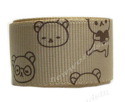 "6y 22mm 7/8"" Tan Bear Cartoon Grosgrain Ribbon Halloween Eco Premium FREE PP"