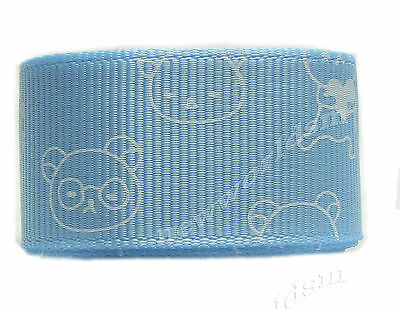 "6y 22mm 7/8"" Blue Topaz Bear Cartoon Premium Grosgrain Ribbon Gift Eco FREE PP"