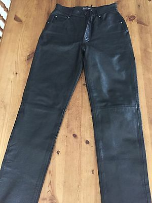 Ladies Leather Motorbike Trousers / Jeans - Size 6
