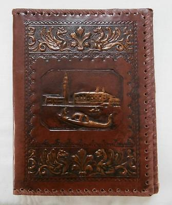 Vintage 1940's (Aprx) Dk Tan Brown Venice Tooled Gold Accents Leather Book Cover