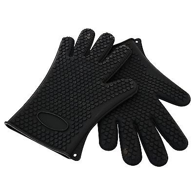 Black Pair of Silicone Heat Resistant Kitchen Baking BBQ Safety Gloves Mitts