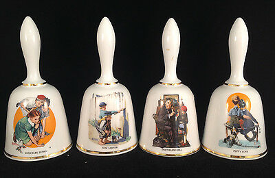 Lot of 4 Norman Rockwell Danbury Mint Limited Edition Bells