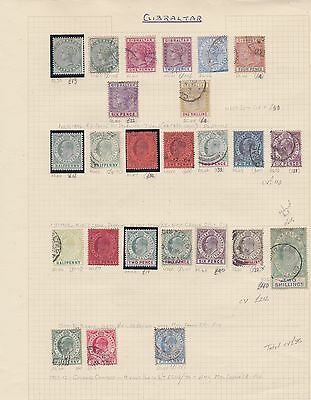 GIBRALTAR QV & EVII 1888-1912 album page cv£375 used & mounted mint