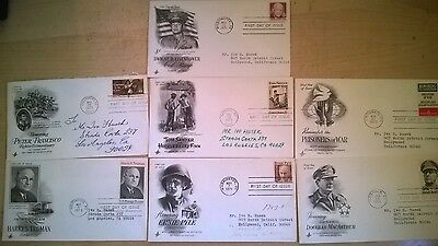 Lot of 7 First Day of Issue Vintage Commemorative USA Envelopes and Stamps