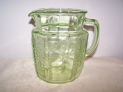 Princess Green Depression Glass 6 Inch 37 Ounce Juice Pitcher - Hocking 1931-35