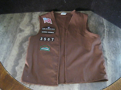 Vintage Girl Scout Brownie Vest With Patches Size Large