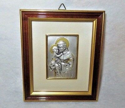 """Silver Plated Framed St. Anthony Religious Picture 4"""" x 5"""""""