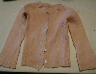 014 Cute Vintage Baby Girls Toddler Sweater 1940's?? Pink. Shell Buttons??