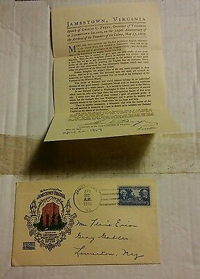 000 Vintage Jamestown Va Envelope With Governor Perry Speech 1949 Postmark