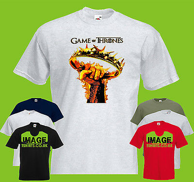 Game Of Thrones GOT Crown PRINTED T-SHIRT Fire TV Fist Flames