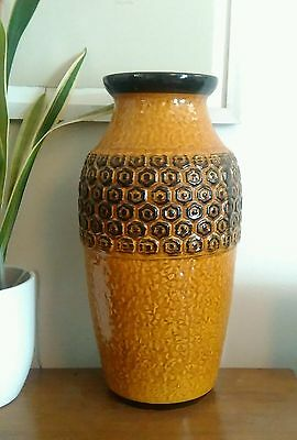 West Germany Bay Keramik Fat Lava large Floor Vase Mid-Century 84 40 Model Black