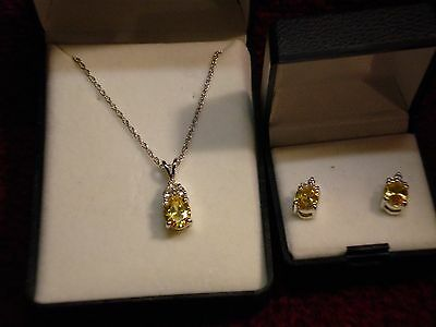 Sterling Silver 925 Earrings and Necklace with Yellow and White CZ