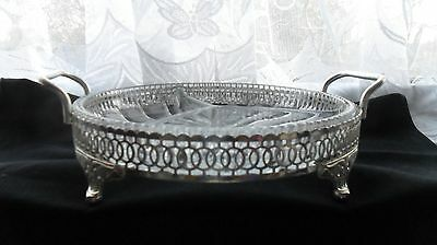 Attractive and useful glass serving dish, in a silver-plated stand