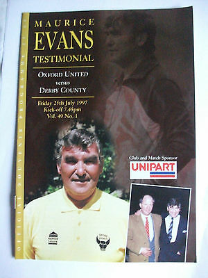 Football Programme: Oxford United v Derby County Played July 25th 1997