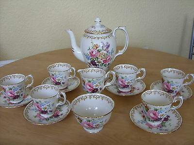 CROWN STAFFORDSHIRE FINE BONE CHINA COFFEE SET  ~  Mint Unused Condition !