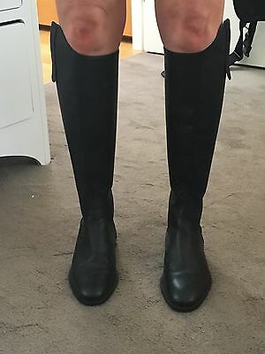 Handmade In Italy Equestrian / Riding Boots, Black Leather, Size 36