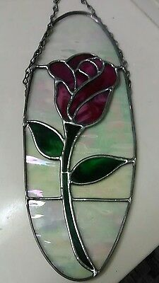 Vintage Stained Glass Suncatcher LARGE 12 1/2 inch