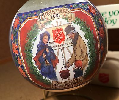 """Very Old Salvation Army Christmas Ornament """"100Th Year Of The Christmas Kettle"""