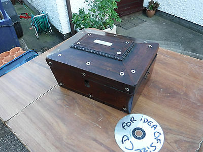 Vintage Wooden  Box  With  Mother  Of Pearl  Inlay.  For Parts
