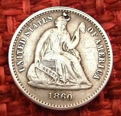 1870 USA Seated Liberty Silver 5 Cent Half Dime Antique coin
