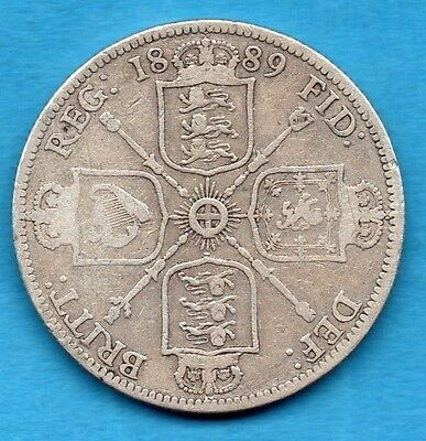 1889 Florin Coin. Queen Victoria Jubilee Head Sterling Silver 2/-. Two Shillings
