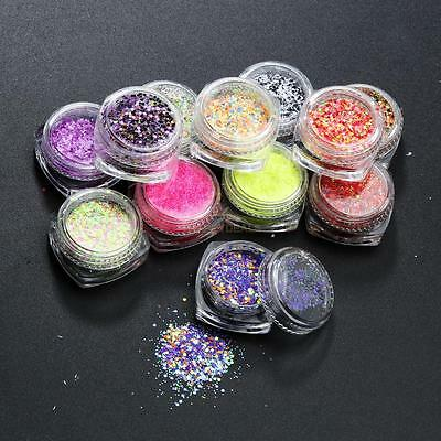 12Pcs Mix Color Glitter Powder Stickers Set For Nail Art Acrylic Tips Decoration