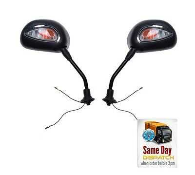 New Pair Of Universal Mirrors M10 With Indicators For Bike Moped Motorcycle