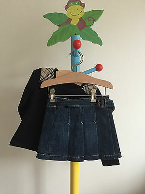 Burberry Girls Designer Winter Denim Skirt and Nova Check Top Outfit Age 4 Years
