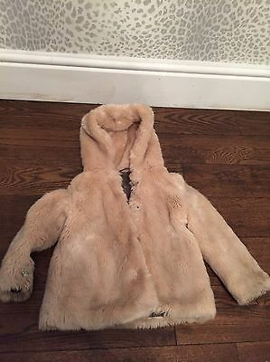 Girls Beige Zara Faux Fur Coat Age 5