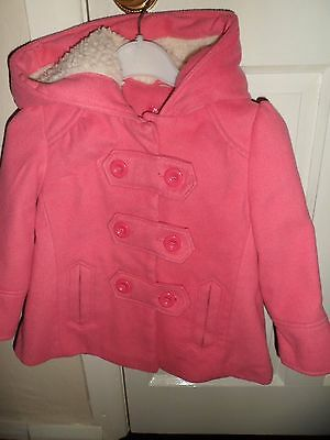 Girls pink nut meg fully lined coat with  fur hood, 2  pockets, age 2-3 92-98cm