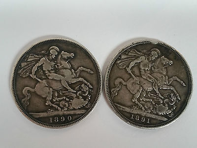 1890 and 1891 Queen Victoria Solid Silver Crowns