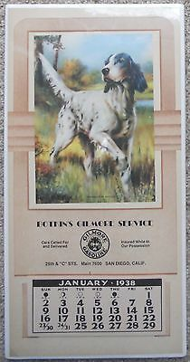 Vintage Wall Calendar Botkin's Gilmore Service San Diego CA English Setter Illus