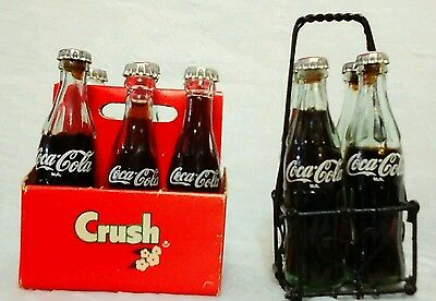 "10 3"" Miniature Mini Coca Cola Coke Bottles & Crush Cardboard 6 Pack Carton VTG"
