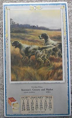 Vintage Wall Calendar Bowman's Grocery Coon Rapids Iowa 1928 English Setters