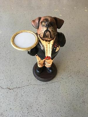 "36"" x 24"" Bulldog Waiter In Tuxedo Statue With Tray"