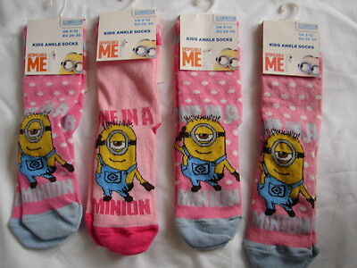 4 Pairs Girls Assorted Despicable ME MINION Character Socks 9-12 Cotton Pink