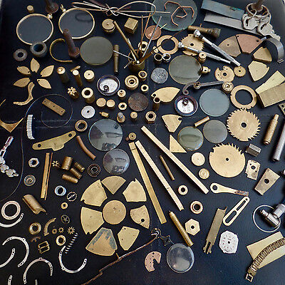 Watchmakers CLOCK Parts Junk Drawer Finds Brass Gears & Cogs STEAMPUNK JobLot