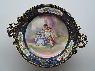 Antique French Sevres Centerpiece Hand Painted Brass Mounting