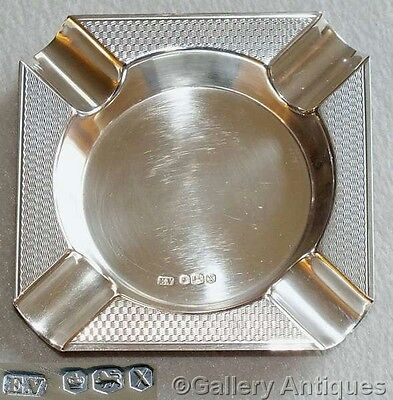 VINTAGE Viners SOLID sterling SILVER engine turned SQUARE ASHTRAY Sheffield 1965