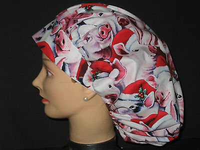 Surgical Scrub Hats/Caps Christmas Pink Pigs in Santa hats