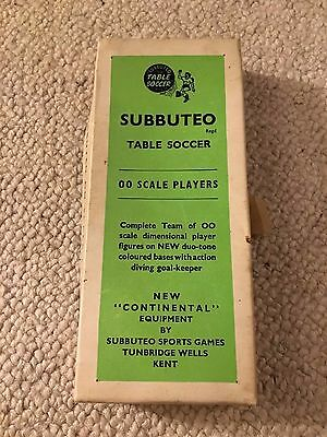 Subbuteo very rare 1940s celluloid football team - boxed - red white striped kit