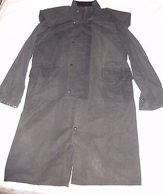 Waxed Cotton Knee Length Genuine Riding Coat In Blue Size Xl Waterproof, Lined
