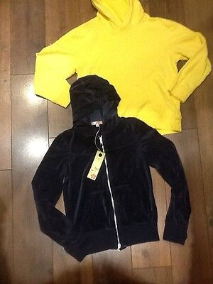 2 new with tag Girls hoodie M&S blue yellow sweatshirt tops age 11 - 12