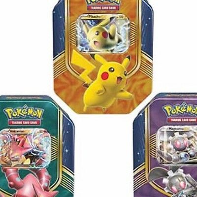 POKEMON CARDS XY FALL 2016 COLLECTORS TIN - PICKACHU/ volcanion or megearna EX
