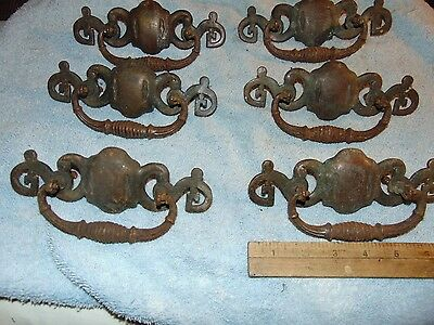 6 Antique cast Brass & cast Iron Large Pulls Handles