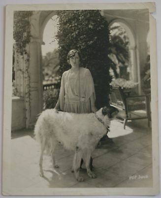 "Vintage Gloria Swanson Russian Wolf Hound Ivan 8 x 10"" Lasky Photo Original"