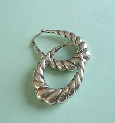 925 Sterling Silver Earrings Large Creole Style