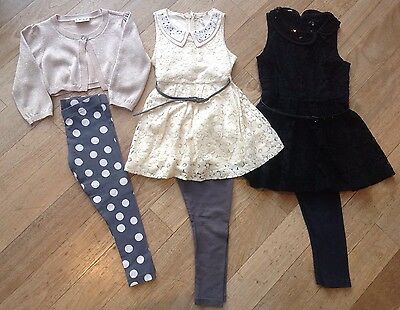 Next Girls Bundle. Cream & Black Lace Dresses & Leggings Outfits. 3 Years.