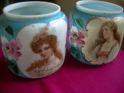 Pair  Milk Glass  Vases/potpourri  With Young Women Portraits